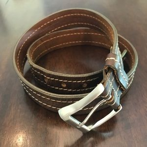 Stitched Genuine Leather Brown Belt Handcrafted